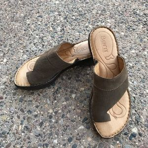 Born Leather Slip In Sandals Size 6 Brown